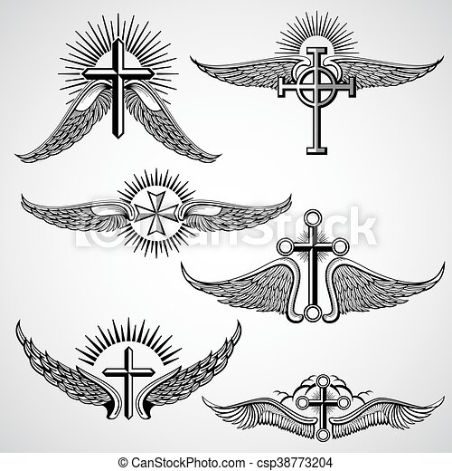 Vintage Cross And Wings Tattoo Vector Elements