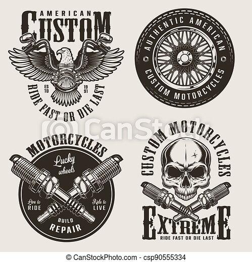 Vintage custom motorcycle badges set - csp90555334