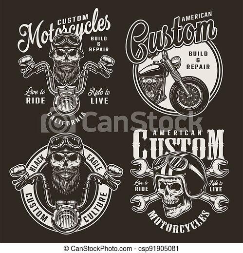 Vintage custom motorcycle logos - csp91905081