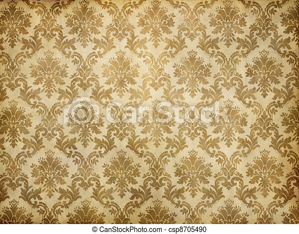 Vintage Damask Wallpaper Old Brown And Yellow Patterned