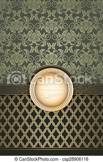 Vintage decorative background with frame for the text. - csp28906116
