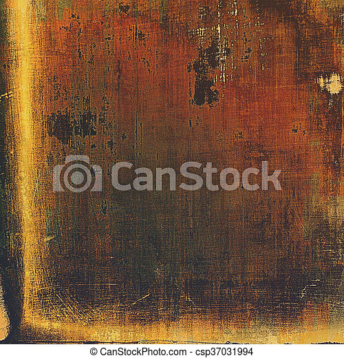 Vintage decorative texture with grunge design elements and different color patterns: yellow (beige); brown; gray; red (orange); black - csp37031994