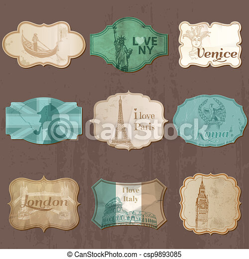 Vintage Design City Elements for Scrapbook - Old tags and frames in vector - csp9893085
