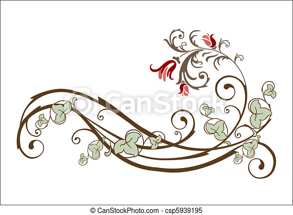 vintage design element with flowers and ivy - csp5939195