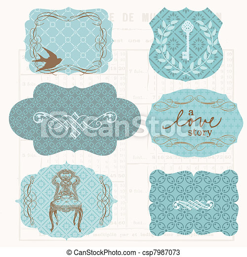 Vintage Design elements for scrapbook - Old tags and frames - csp7987073