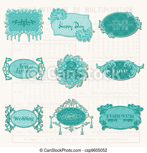 Vintage Design Elements for Scrapbook - Old Tags and Frames - in vector - csp9605052