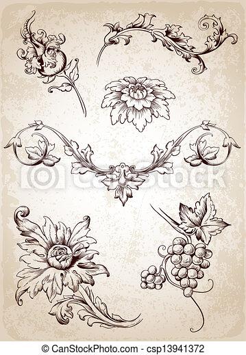 Vintage Design Elements Vector Victorian Floral Vectors