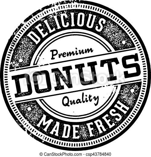 Vintage Donuts Menu Design Stamp - csp43784840