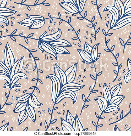 Vintage doodle flowers seamless pattern - csp17899645