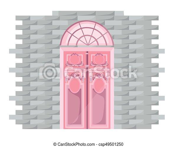 Vintage Door Facade Vectror Main Entrance Illustration