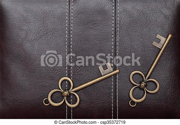 Vintage door key on a leather - csp35372719
