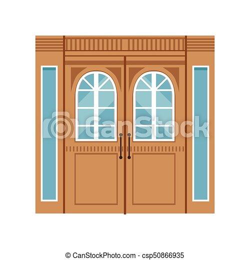 Vintage double wooden doors, closed elegant front door vector ...