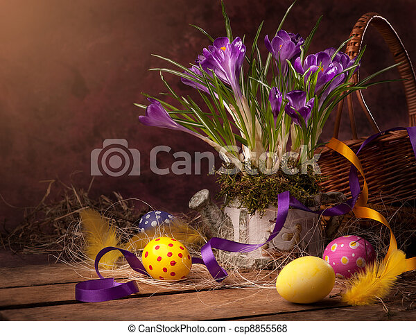 vintage Easter card, spring flowers on a wooden background - csp8855568