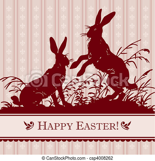 vintage easter card (vector) - csp4008262