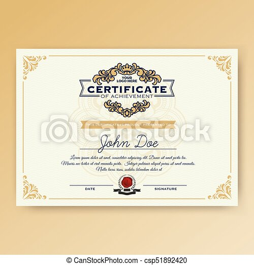 vintage elegant certificate of achievement with ornaments a4 size