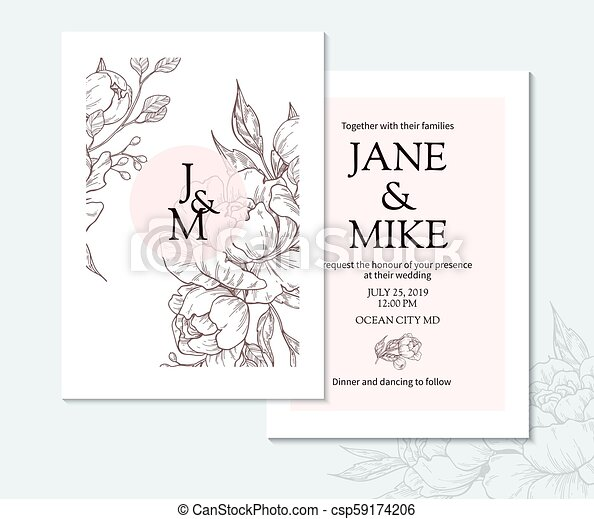 Vintage Elegant Wedding Invitation Card Template With Vector Peony And Roses