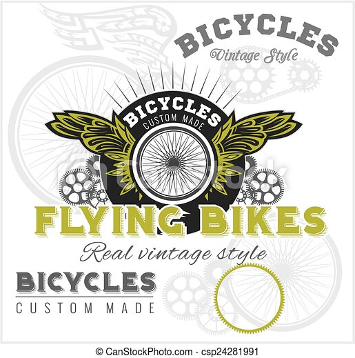 Vintage elements with Bicycle label set template. - csp24281991