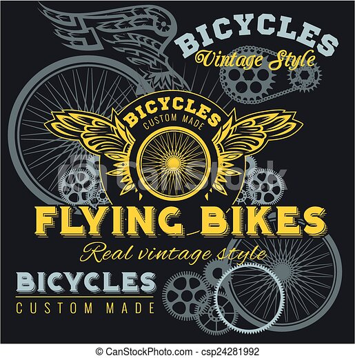 Vintage elements with Bicycle label set template. - csp24281992