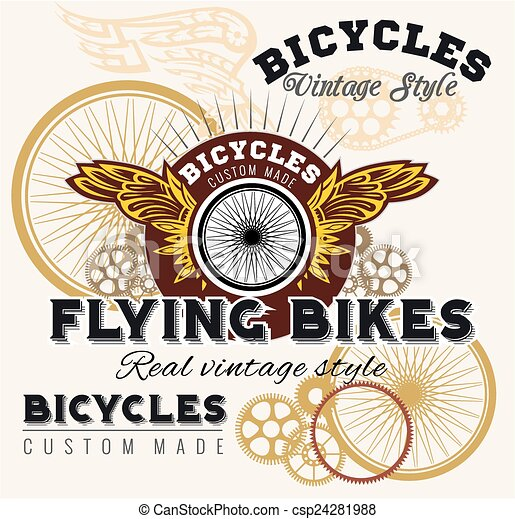 Vintage elements with Bicycle label set template. - csp24281988