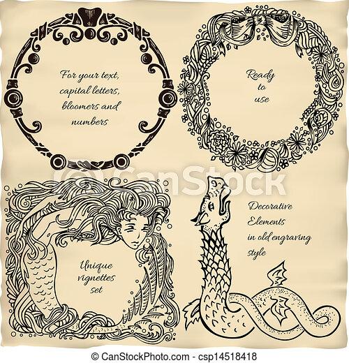 Vintage engraved frame vignette set - csp14518418