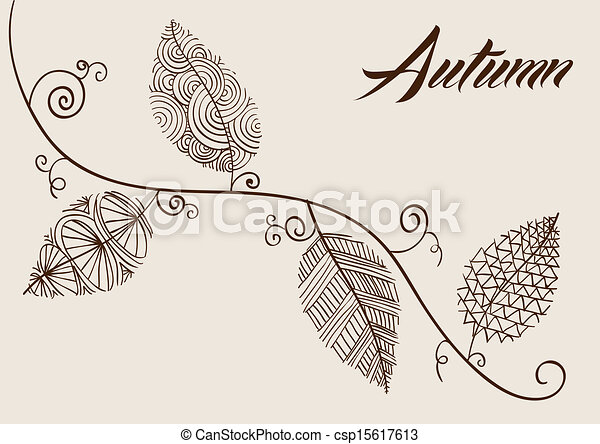Vintage fall season composition. Hand drawn curl tree branches and leaves background. EPS10 Vector file in layers for easy editing. - csp15617613
