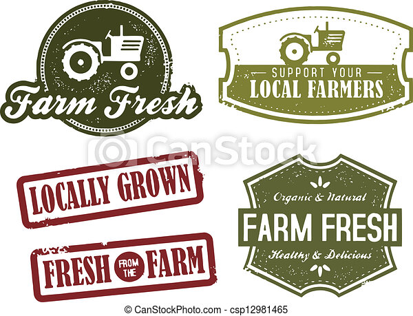 Vintage Farming and Market Fresh - csp12981465
