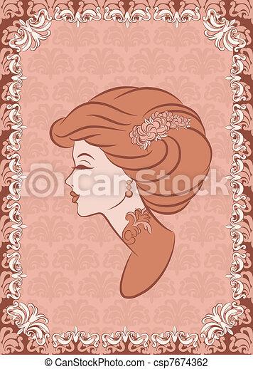 Vintage fashion girl. - csp7674362