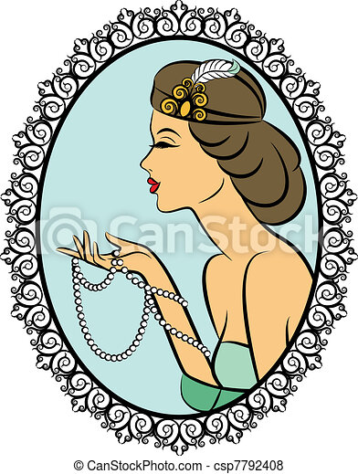 Vintage fashion girl with beads. - csp7792408