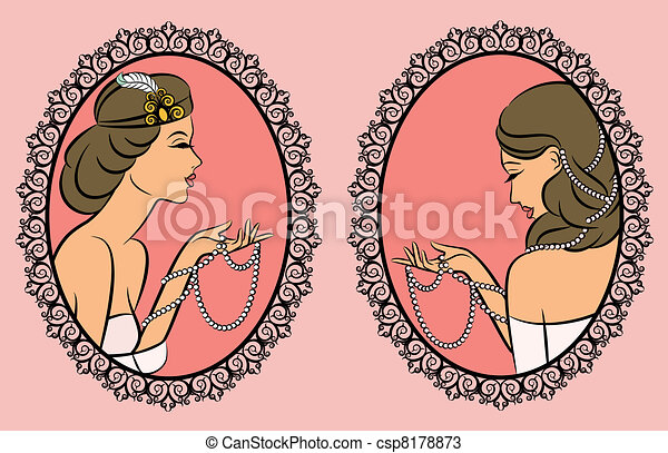 Vintage fashion girl with beads. - csp8178873