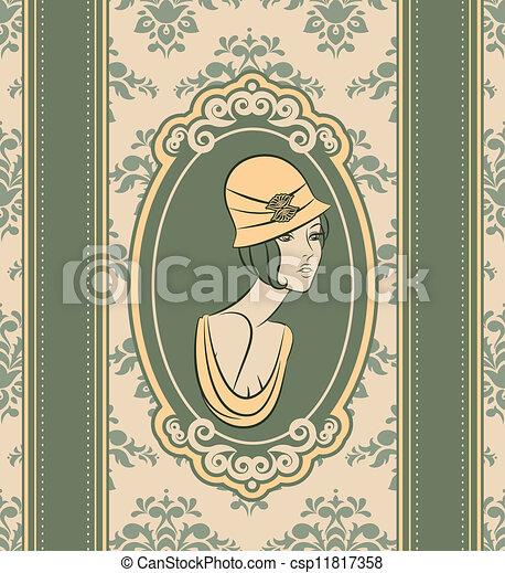Vintage fashion woman - csp11817358