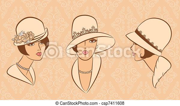 Vintage fashion woman in hat. - csp7411608
