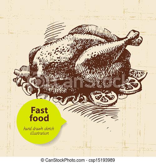 Vintage fast food background. Hand drawn illustration. Menu design - csp15193989