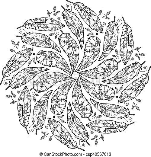Vintage feather mandala. Vintage decorative feather mandala. zenart ...