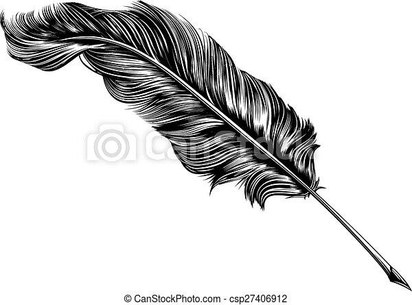 Vintage feather quill pen illustration - csp27406912