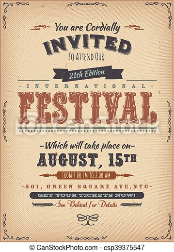 Vintage Festival Invitation Poster - csp39375547