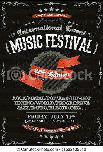 Vintage Festival Invitation Poster On Chalkboard - csp32132510