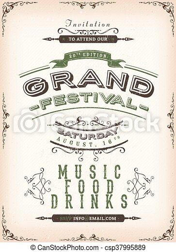 Vintage Festival Poster Background - csp37995889