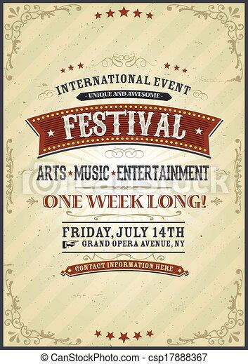 Vintage Festival Poster - csp17888367