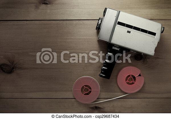 Vintage filmmaking camera - csp29687434