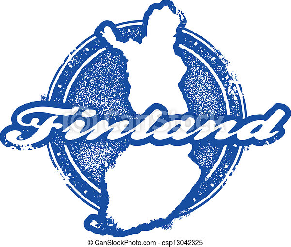 Vintage Finland Country Stamp Vintage Style Finland