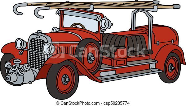 vintage fire truck hand drawing of a vintage red fire truck