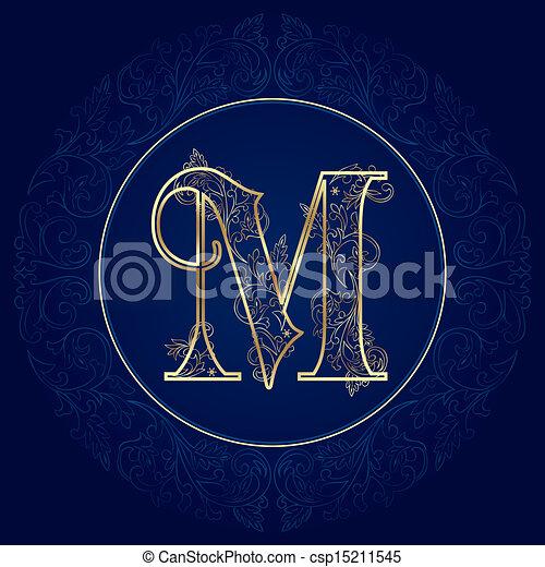 Vintage Floral Alphabet Letter M Vector Illustration
