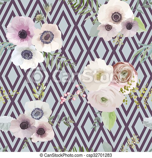 Vintage Floral Background - seamless pattern - in vector - csp32701283