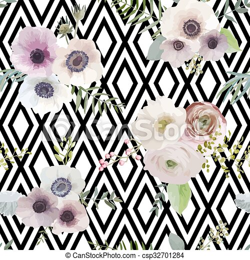 Vintage Floral Background - seamless pattern - in vector - csp32701284