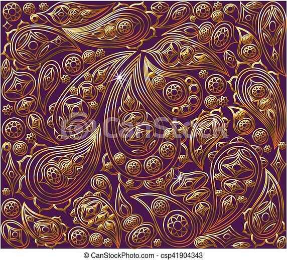 Vector royal gold and purple pattern oriental design baroque wallpaper