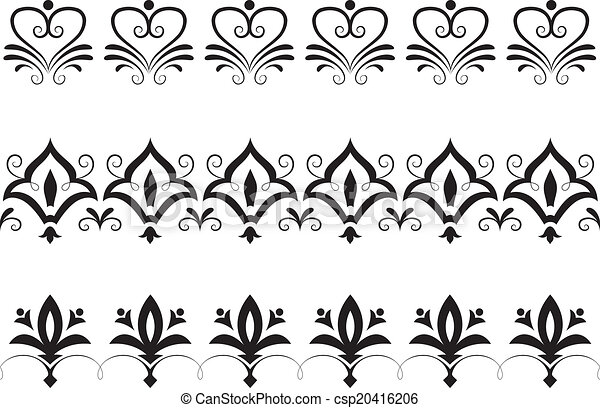 Vintage Floral Borders Border Illustration Featuring