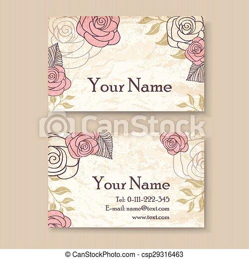 Vintage floral business card template vintage floral business card csp29316463 wajeb Images