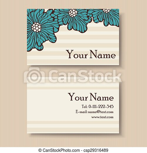 Vintage floral business card template vintage floral business card csp29316489 flashek Images
