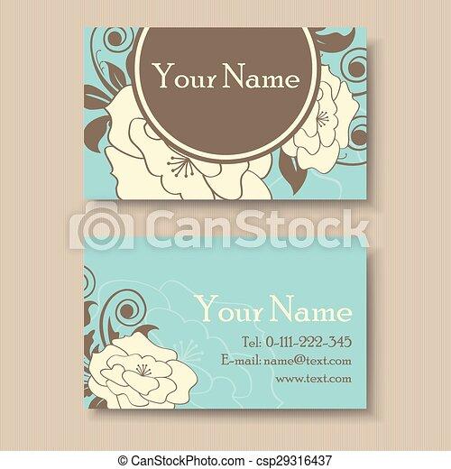Vintage floral business card template vintage floral business card csp29316437 wajeb Images
