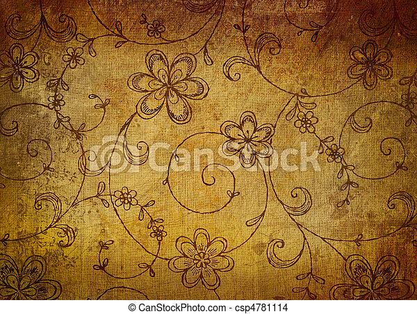 Vintage floral paper with grunge effect  - csp4781114